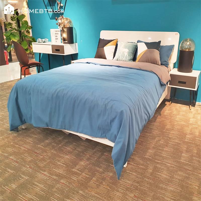 Modern Minimalist White Double Bed