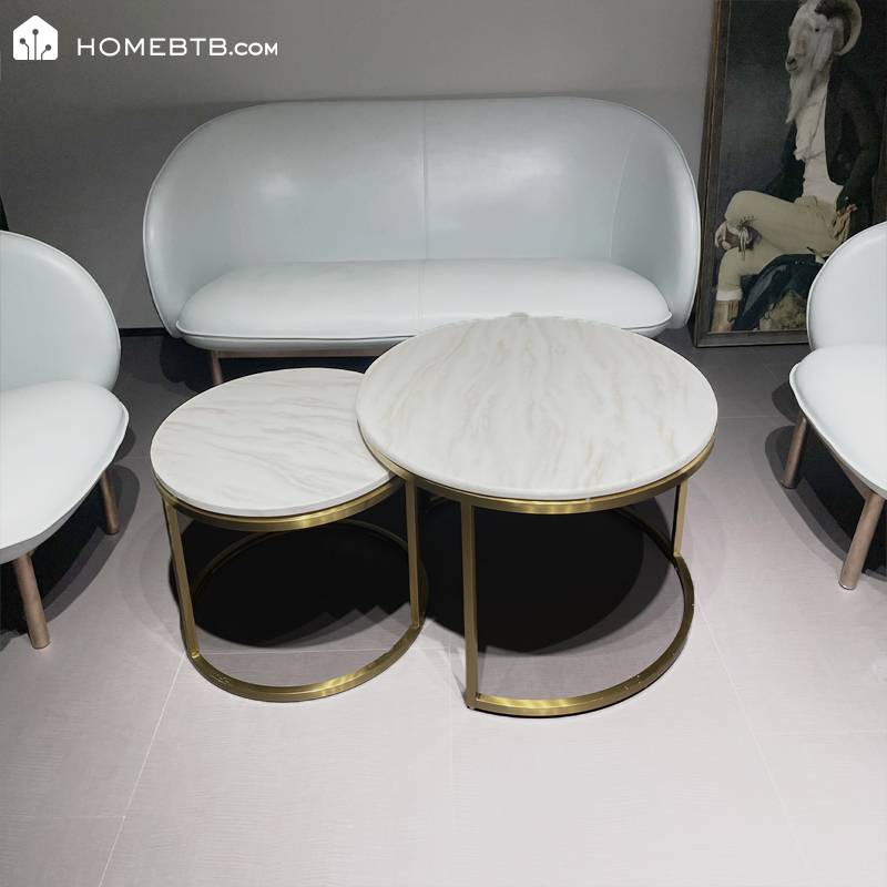 Artificial Marble Stainless Steel Coffee Table