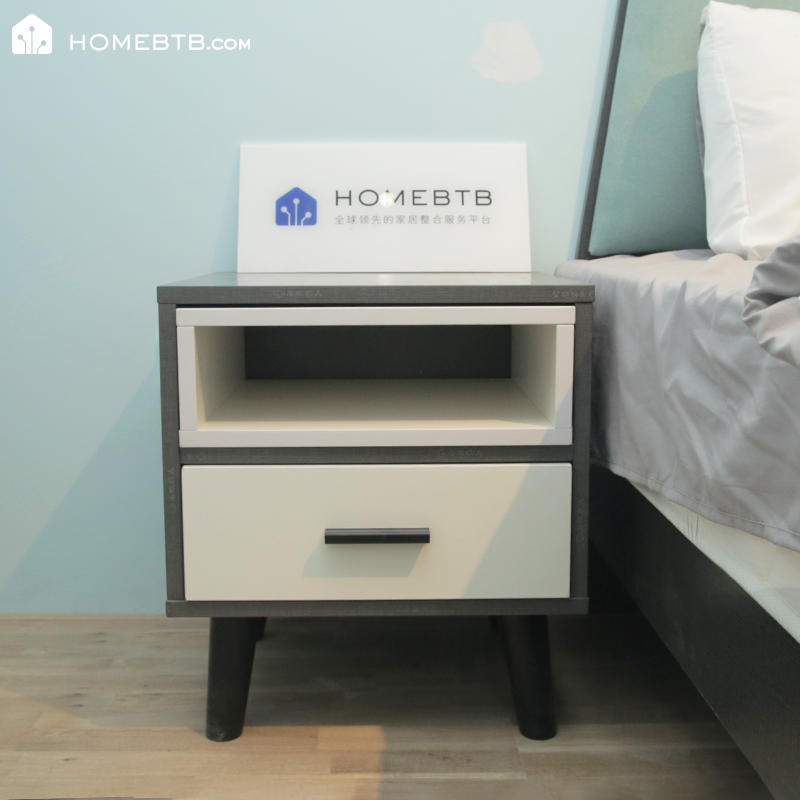 Practical Bedside Table White and Gray
