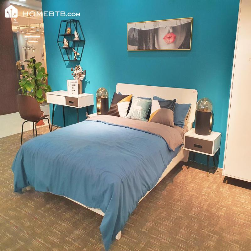 Modern Minimalist White Double BedproductInfoLeftImg