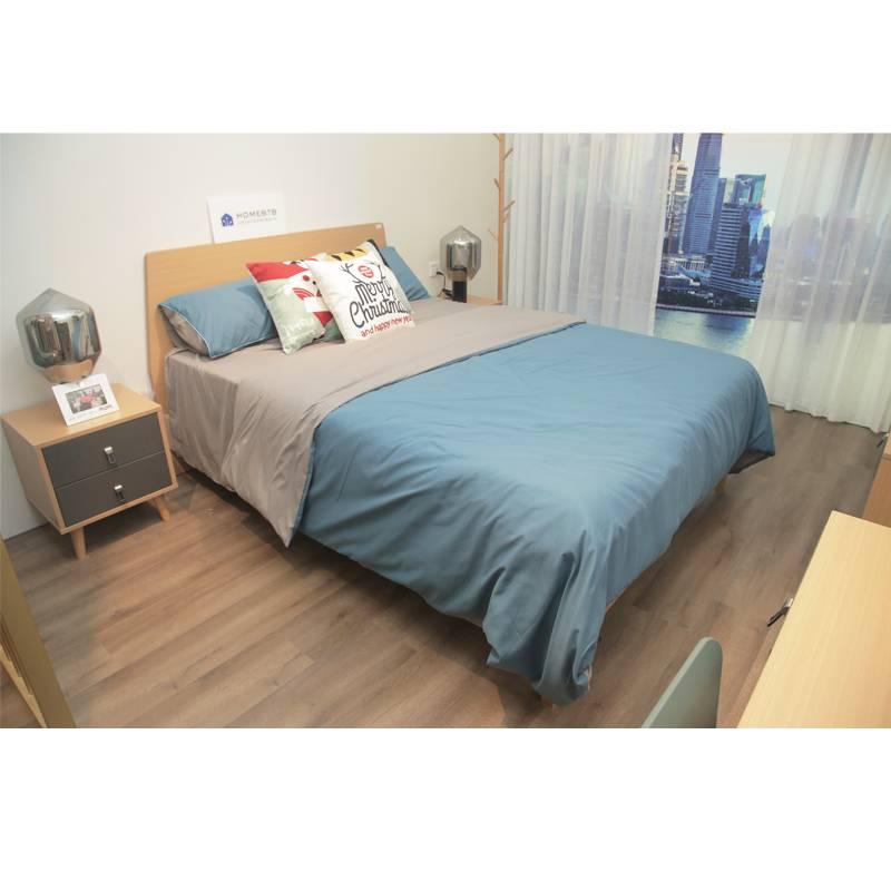 Fashion Sea Blue Wood Bed