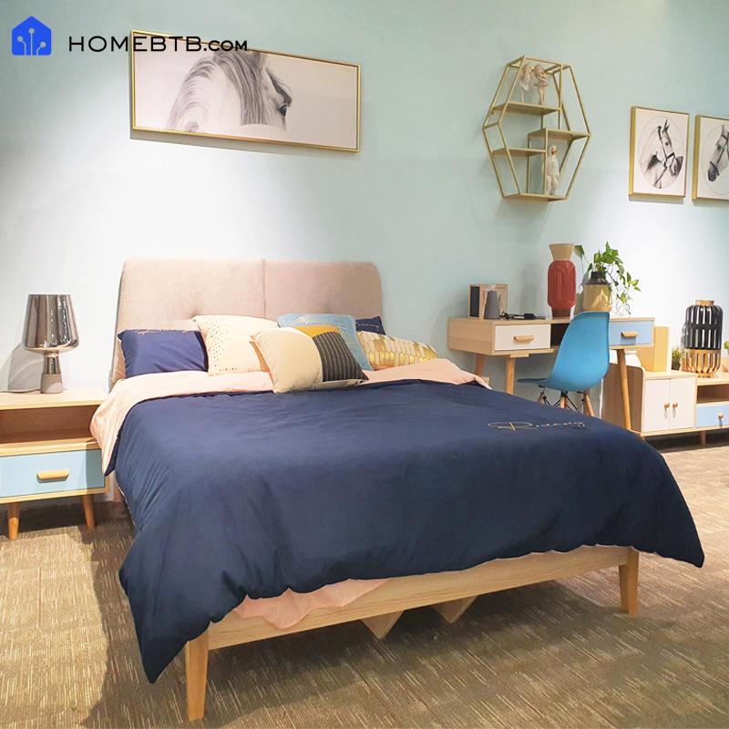Fashion Gray Solid Wood BedproductInfoLeftImg
